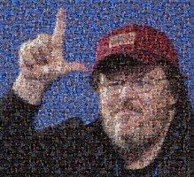 Immagine di Michael Moore ottenuta componendo le immagini della campagna elettorale di George W. Bush