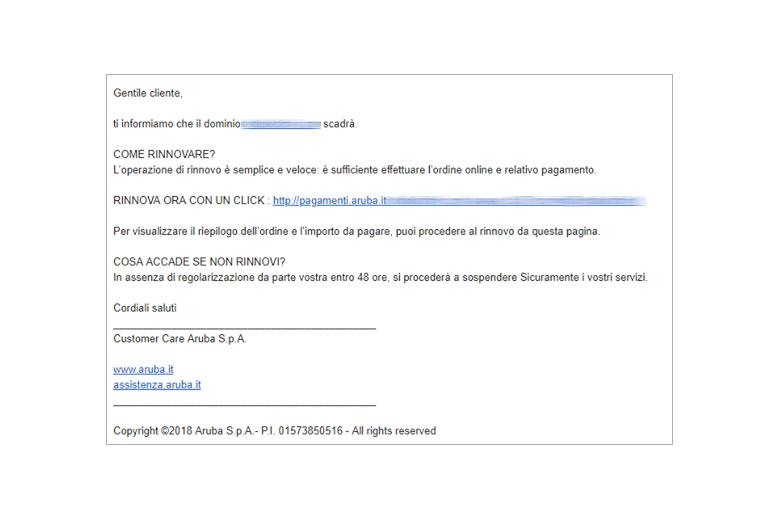 Attenzione alle finte e-mail di Aruba per rubarvi dati di accesso e carte di credito